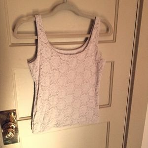 Fitted ivory lace tanktop by WHBM